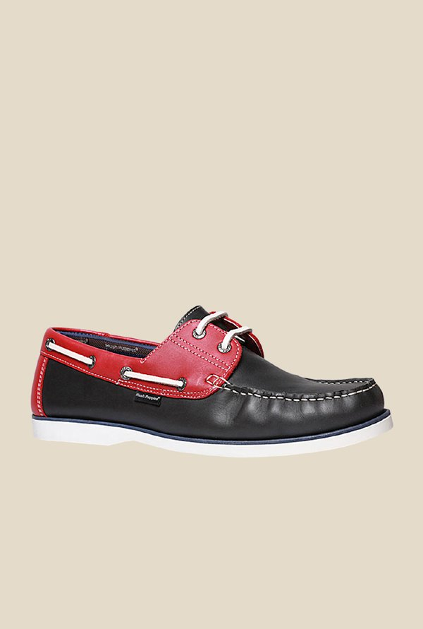 Hush Puppies Black & Red Boat Shoes