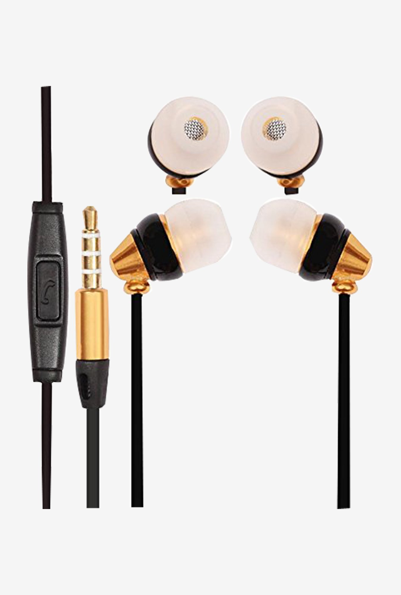Premium In The Ear Bud Headset Earphones With Mic (Gold)
