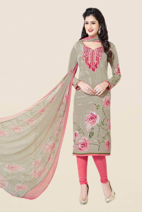 Salwar Studio Grey & Pink Floral Print Dress Material