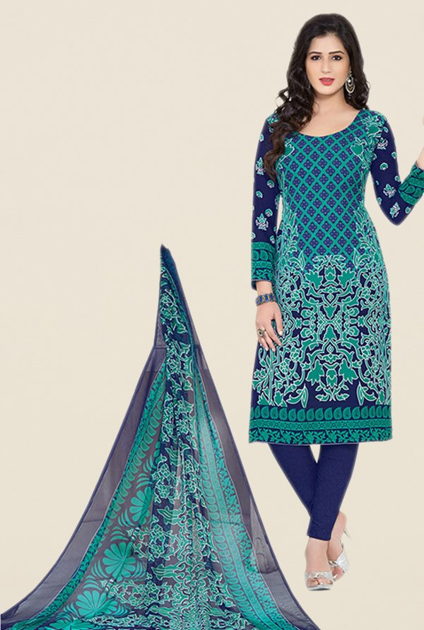 Salwar Studio Navy Floral Print Dress Material