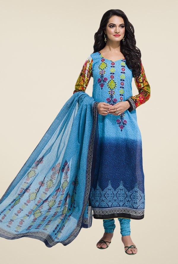 Salwar Studio Blue Floral Print Dress Material