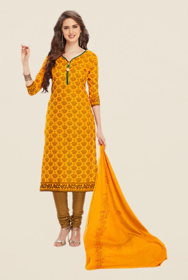 Salwar Studio Orange & Mustard Floral Print Dress Material