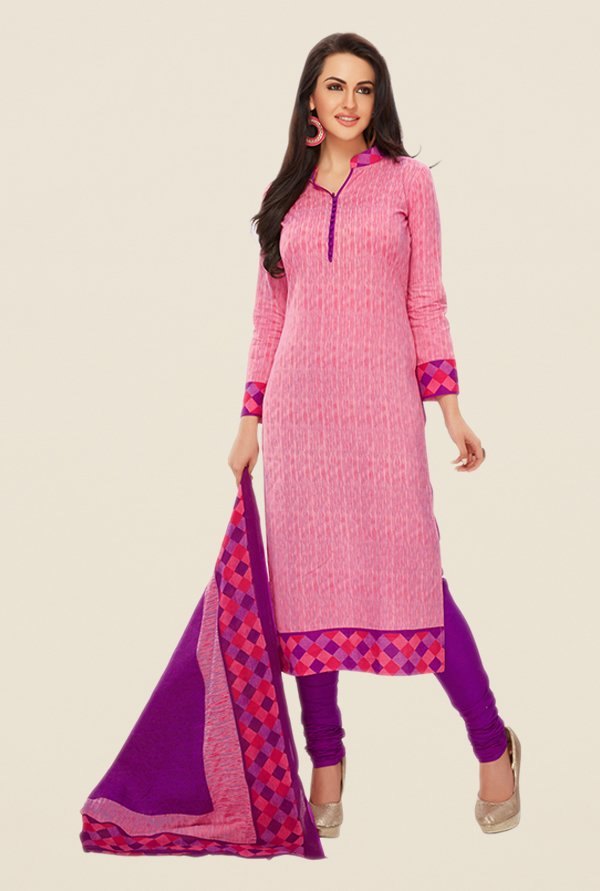 Salwar Studio Pink & Purple Printed Dress Material