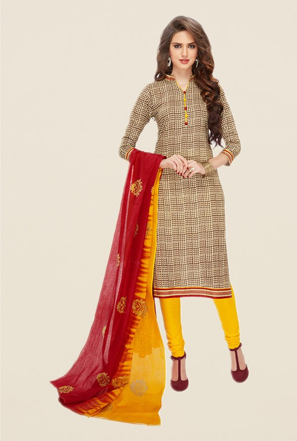 Salwar Studio Brown & Yellow Printed Dress Material