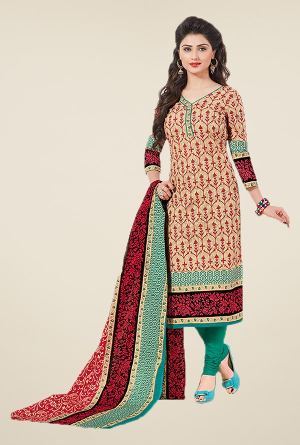 Salwar Studio Beige & Green Floral Print Dress Material