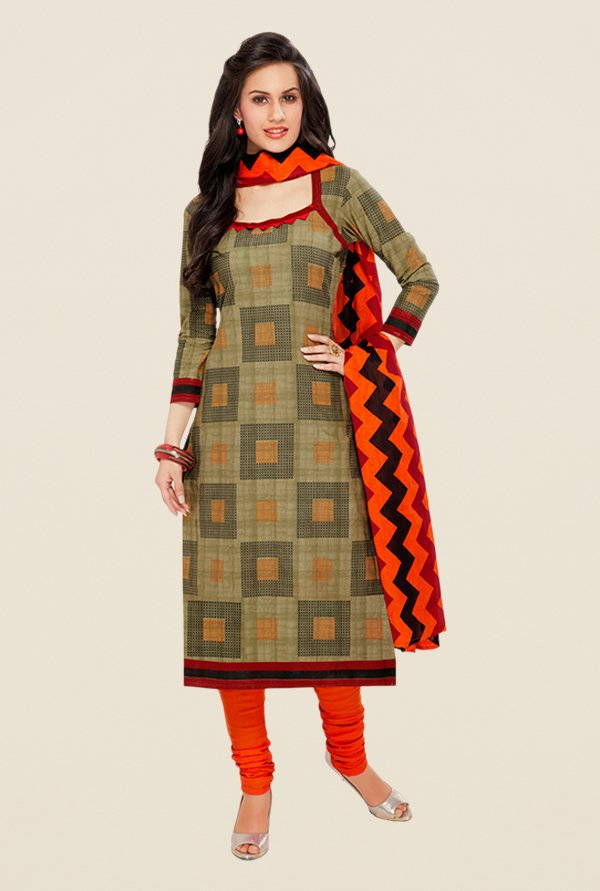 Salwar Studio Olive & Orange Printed Dress Material