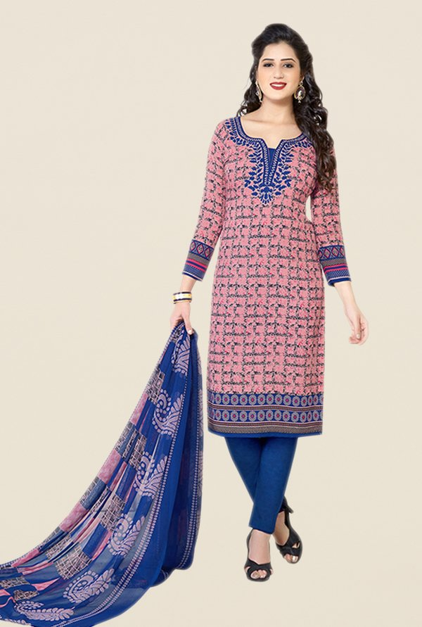 Salwar Studio Pink & Blue Printed Dress Material