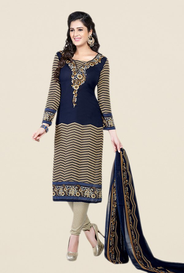 Salwar Studio Navy & Beige Printed Dress Material