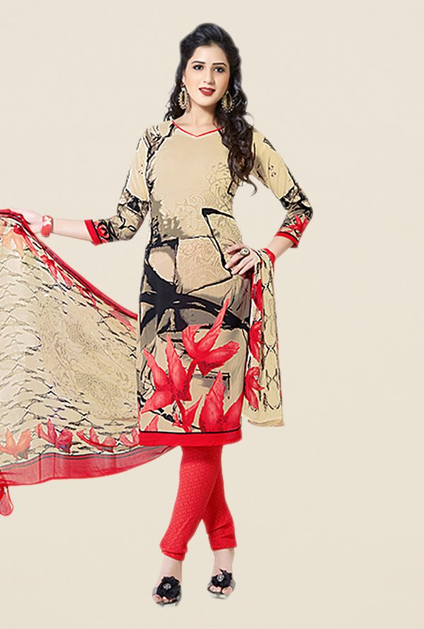 Salwar Studio Beige & Red Printed Dress Material