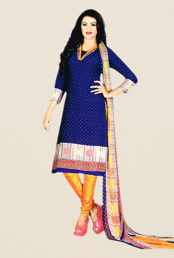 Salwar Studio Blue & Yellow Printed Dress Material