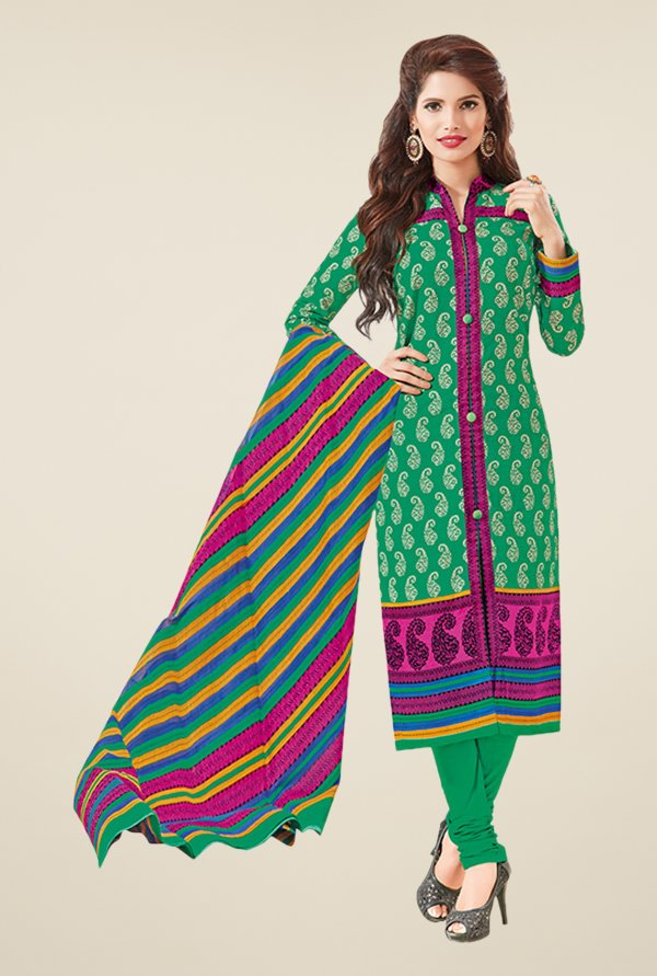 Salwar Studio Green & Pink Paisley Print Dress Material