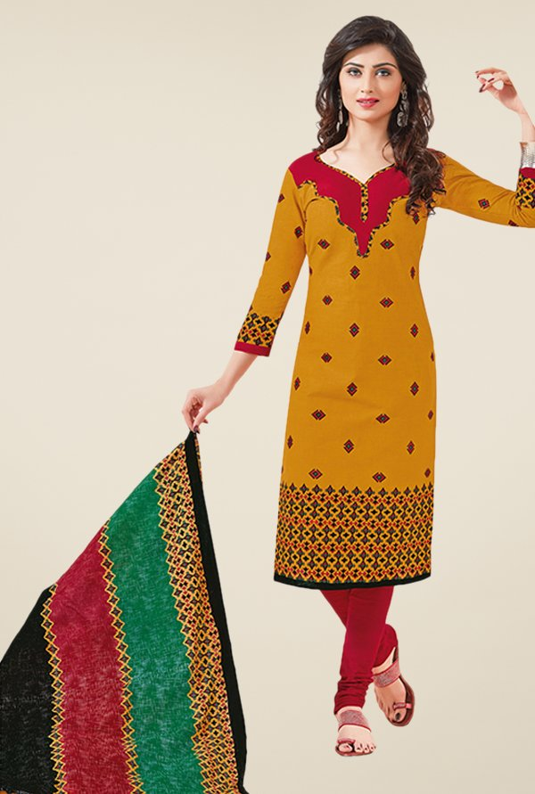 Salwar Studio Mustard & Red Printed Dress Material