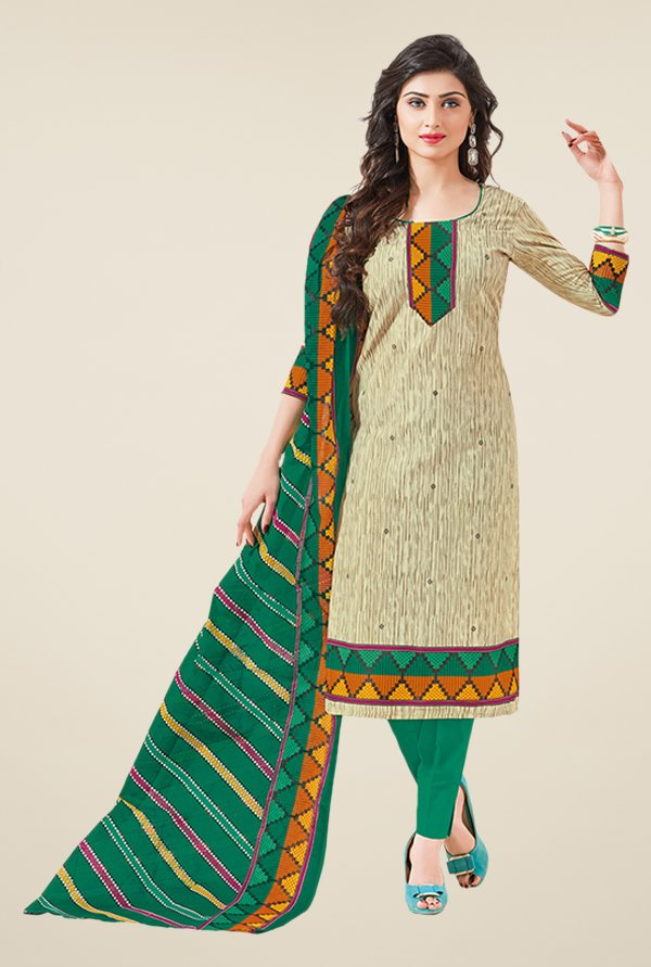 Salwar Studio Fawn & Green Printed Dress Material