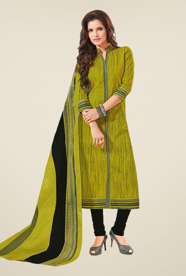 Salwar Studio Olive & Black Printed Dress Material