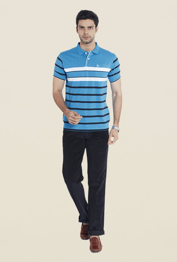 Parx Blue Striped Cotton T Shirt