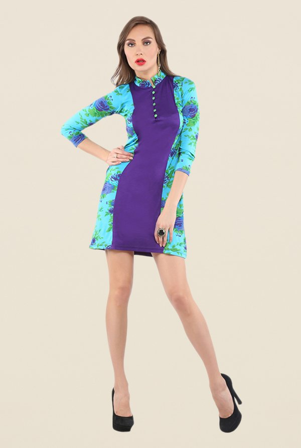 Ira Soleil Purple Floral Print Dress