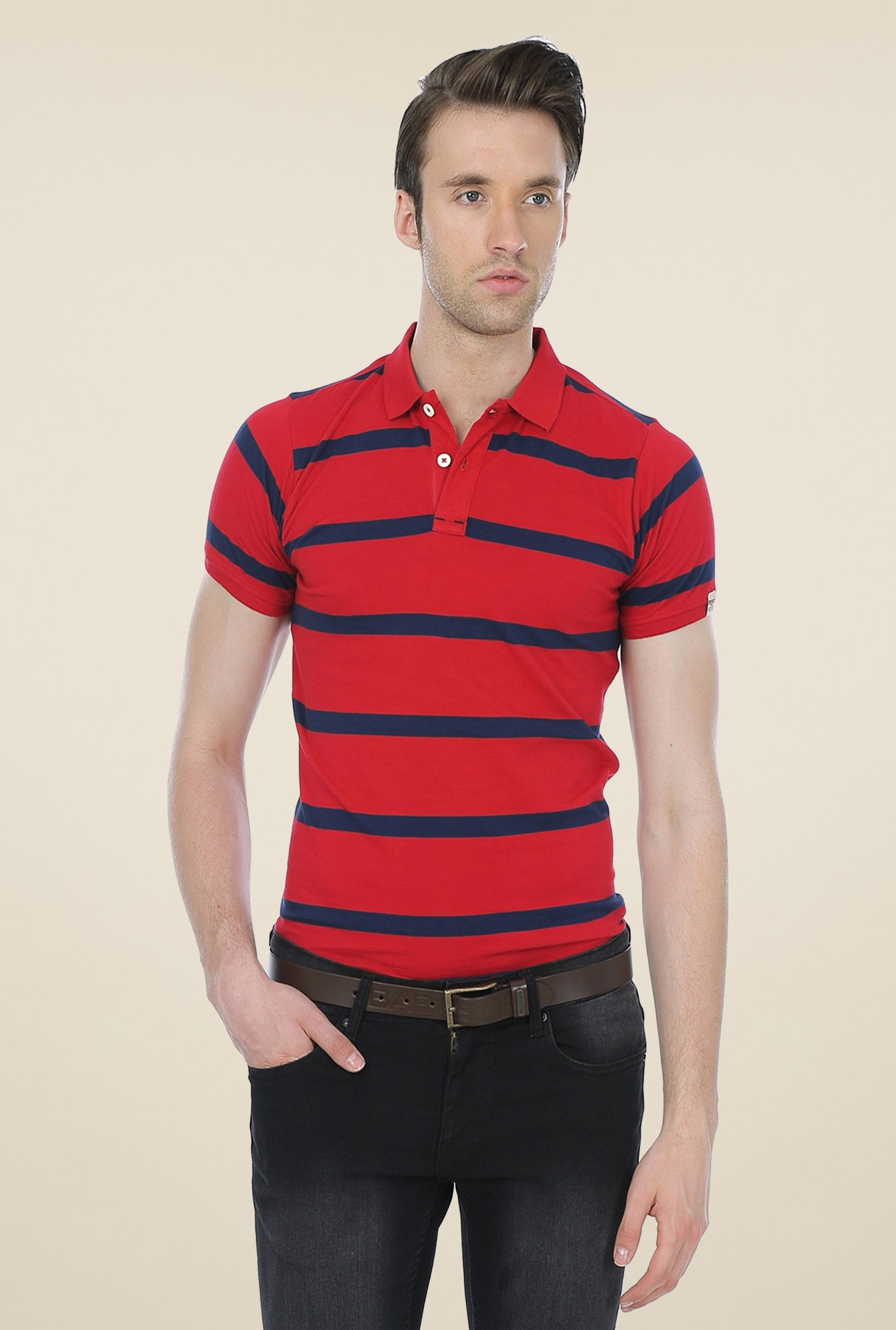 Basics Red Striped Cotton Short Sleeve Polo T-shirt