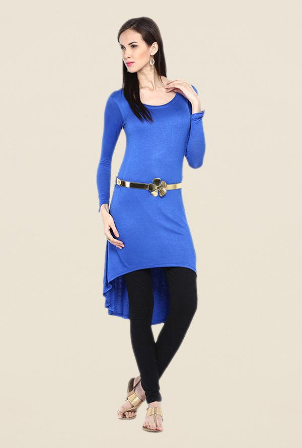 Ira Soleil Blue Solid Tunic