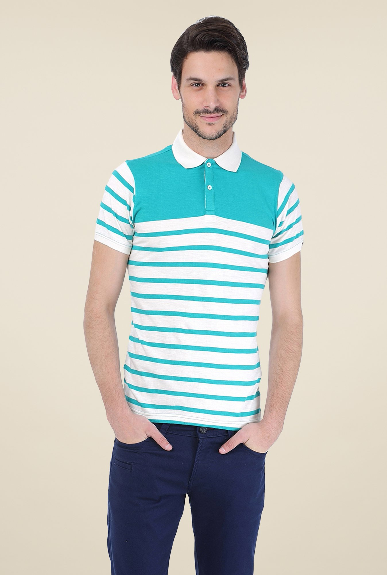 Basics Turquoise Striped Polo T-shirt