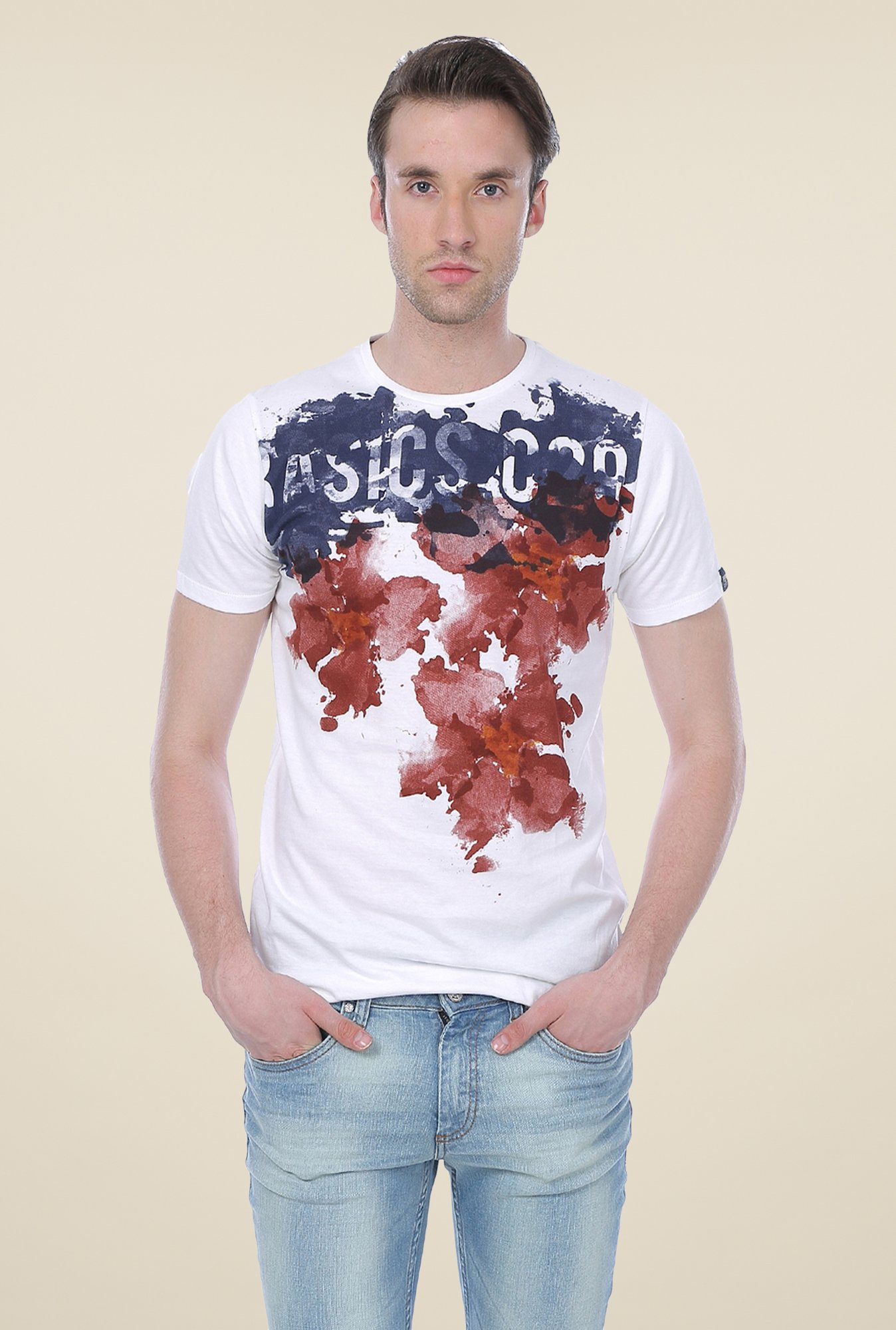 Basics White Printed Cotton Crew T-shirt