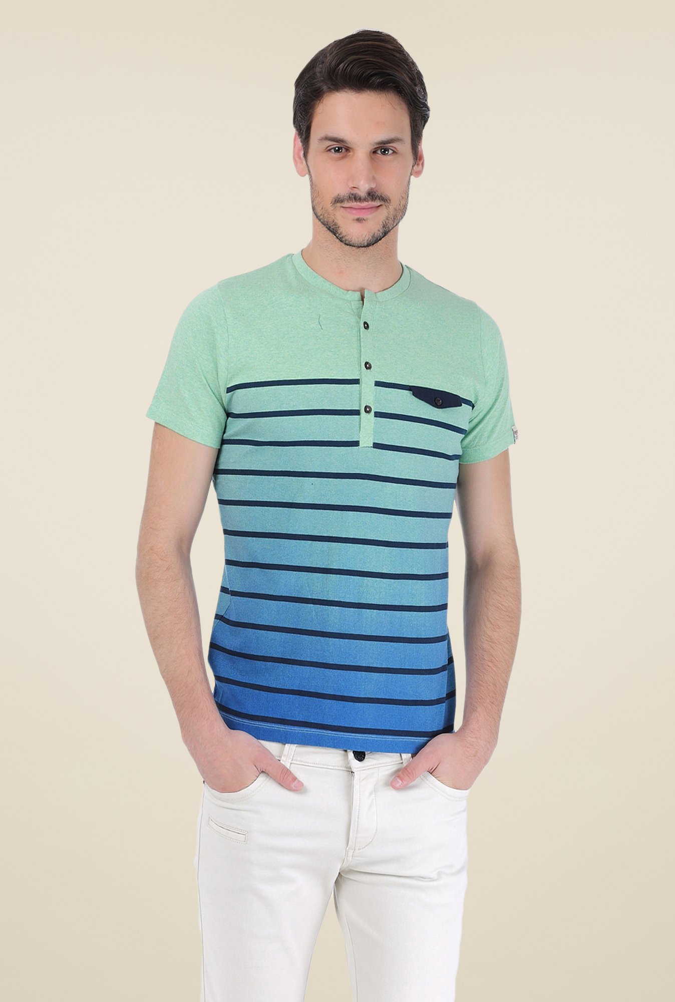 Basics Green Striped T-shirt