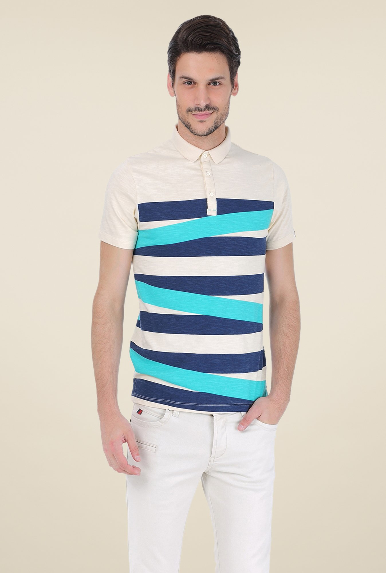 Basics Beige Striped Polo T-shirt