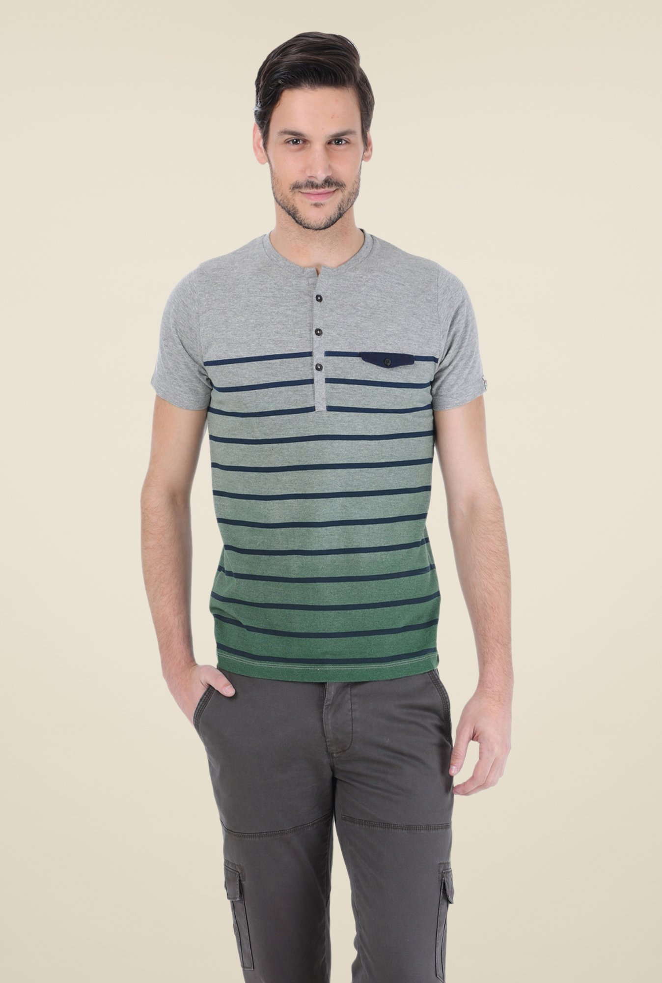Basics Grey Striped T-shirt