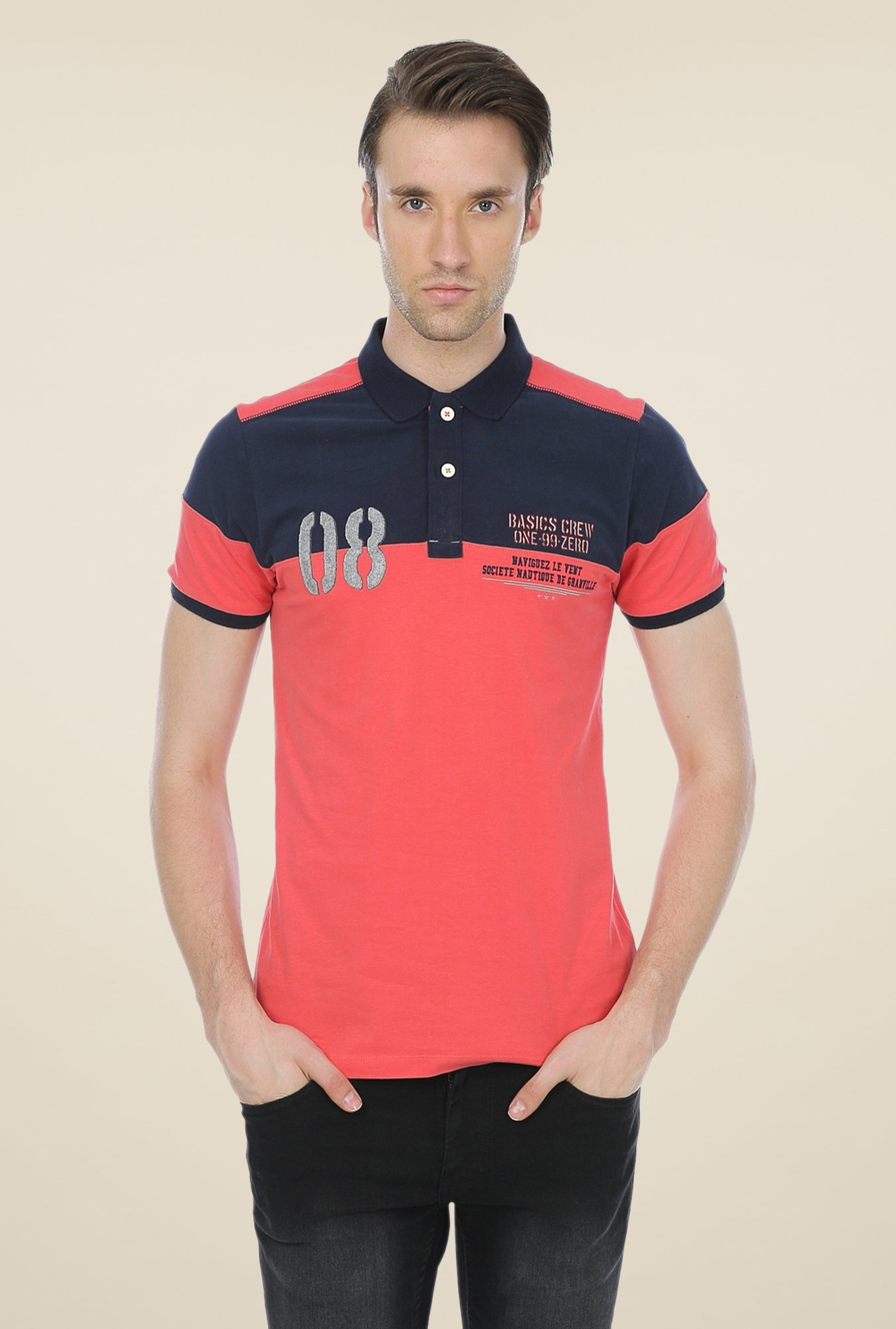 Basics Coral Solid Polo T-shirt