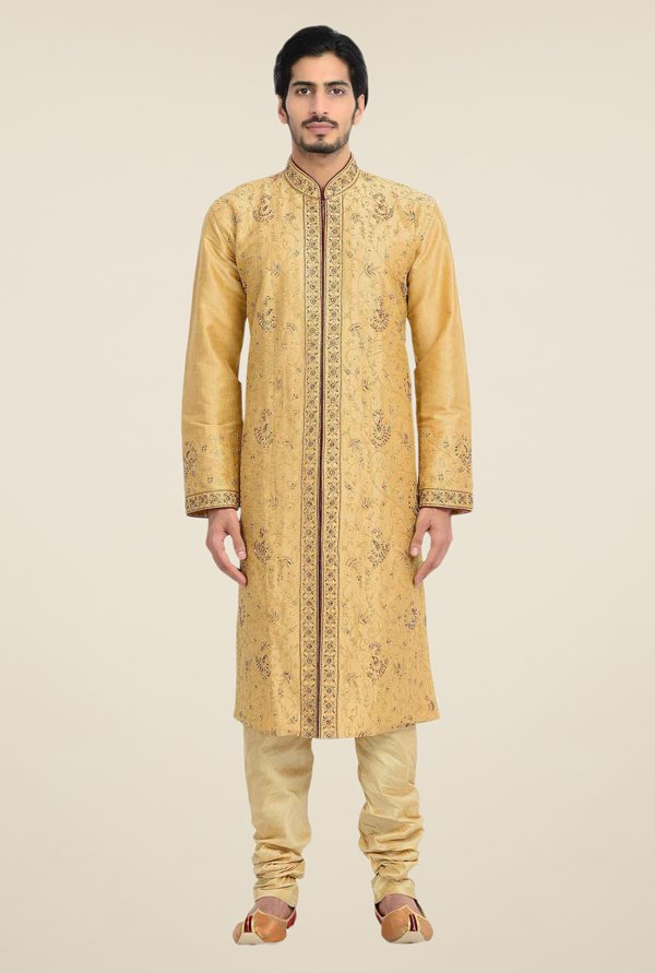 Manyavar Brown Self Design Kurta & Churidar