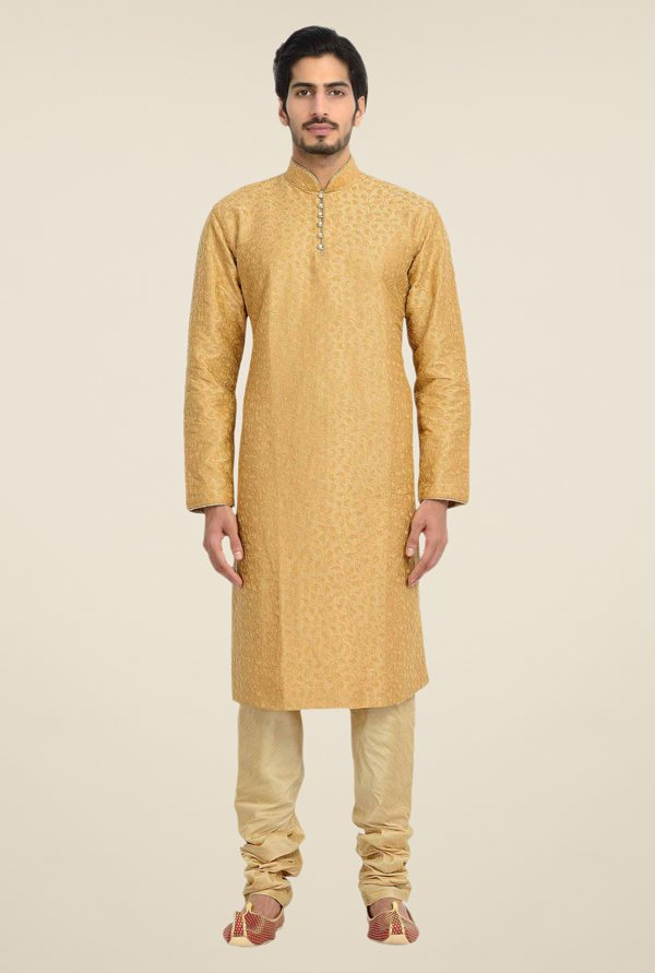 Manyavar Brown Embroidered Kurta & Churidar