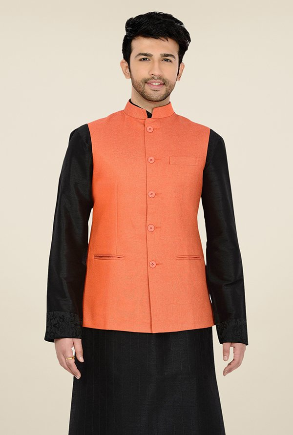 Manyavar Trendy Orange Textured Nehru Jacket
