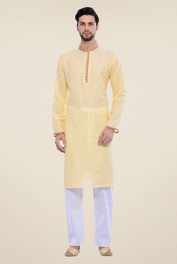 Manyavar Trendy Yellow & White Kurta & Pyjama