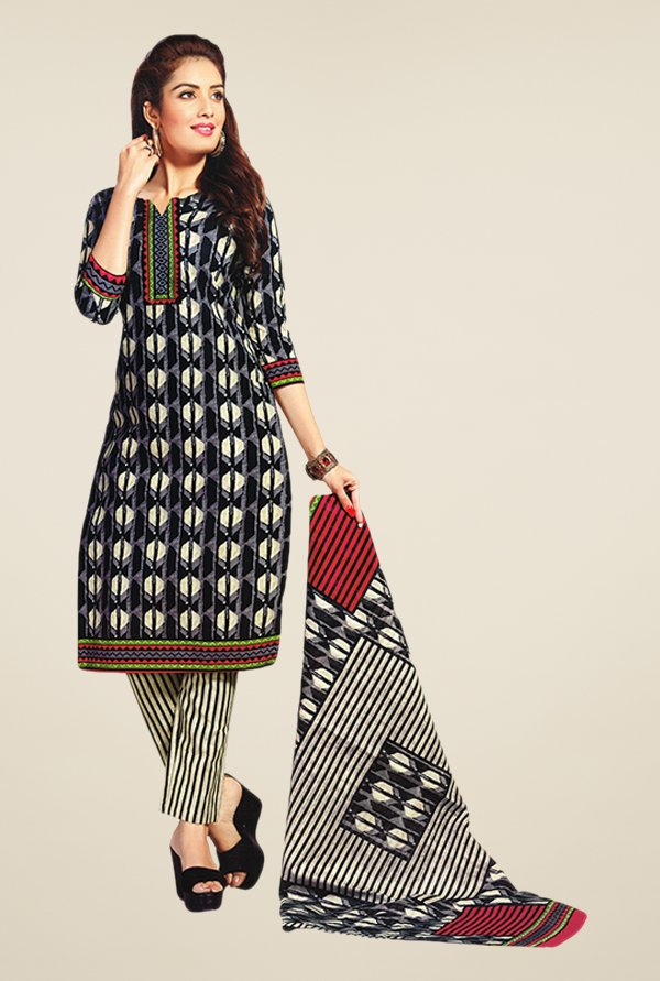 Salwar Studio Black & Beige Printed Cotton Dress Material