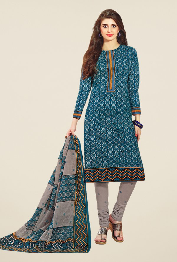 Salwar Studio Blue & Grey Printed Dress Material
