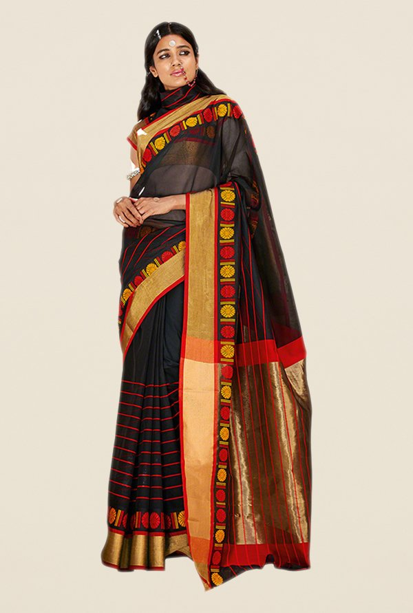 Salwar Studio Black & Red Striped Saree
