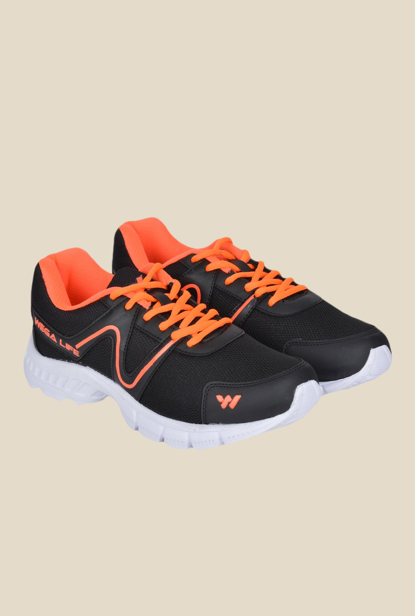 Wega Life Air Black & Orange Running Shoes