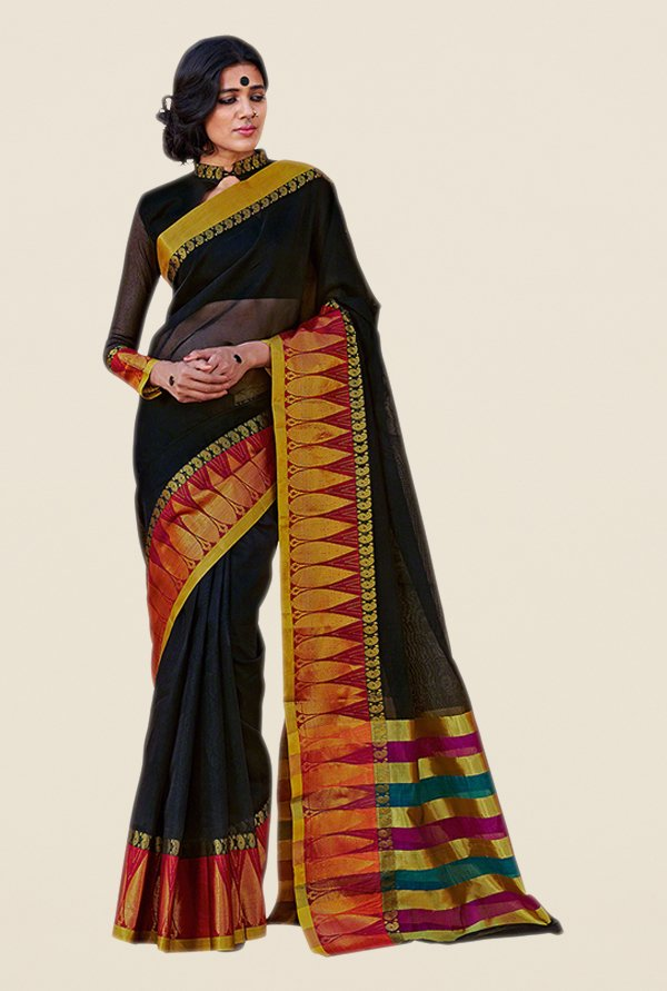 Salwar Studio Black & Maroon Printed Saree