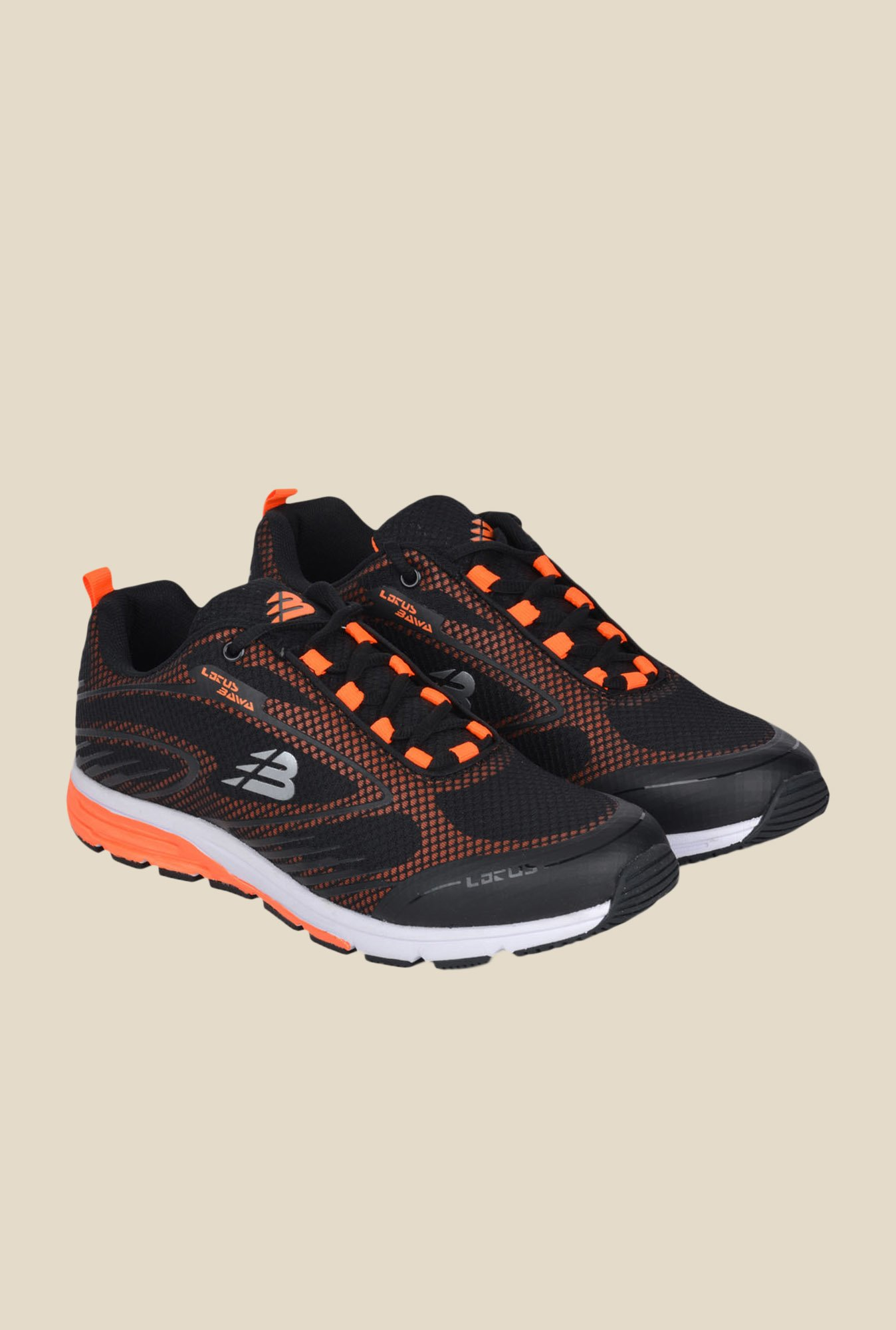 Lotus Bawa Black & Orange Running Shoes