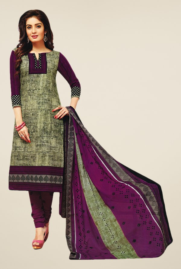 Salwar Studio Purple & Grey Printed Dress Material