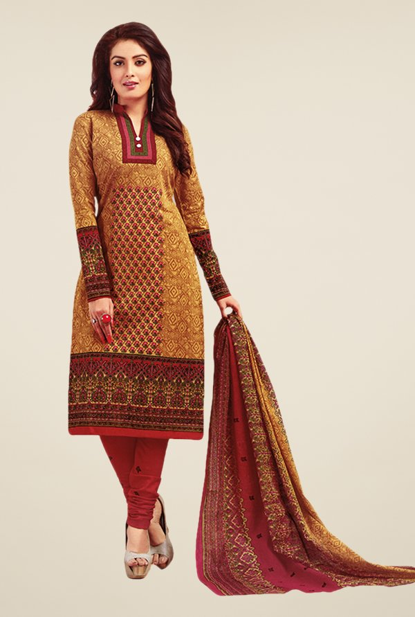 Salwar Studio Gold & Red Printed Dress Material