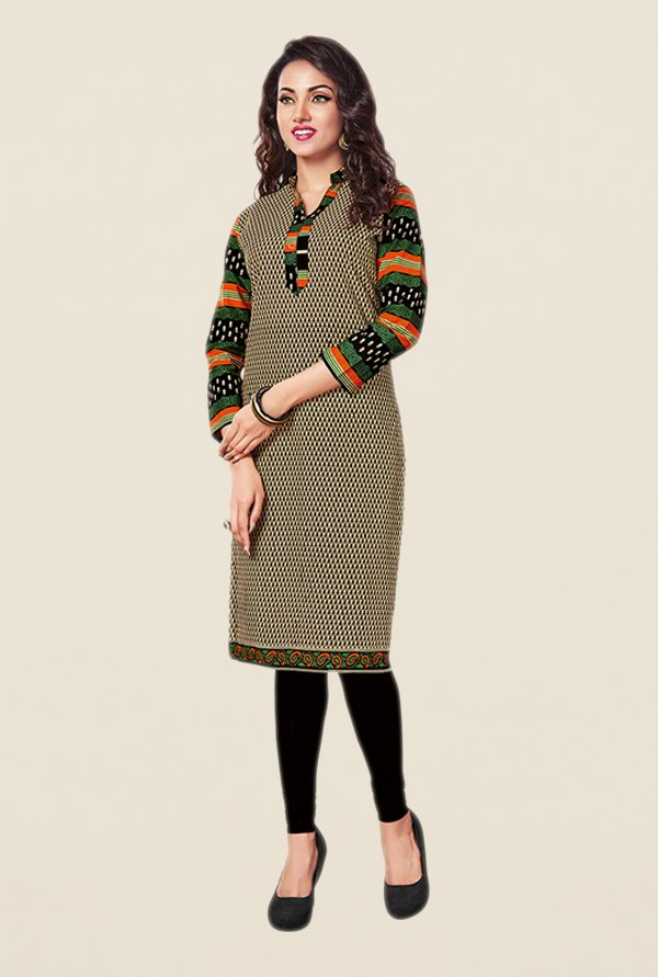 Salwar Studio Beige & Black Printed Cotton Unstitched Kurti