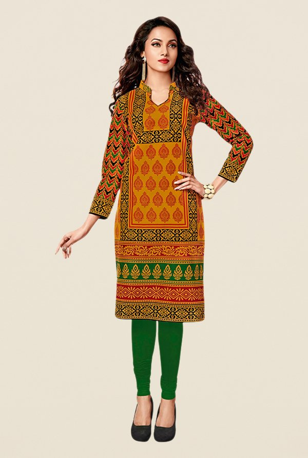 Salwar Studio Yellow & Green Printed Unstitched Kurti