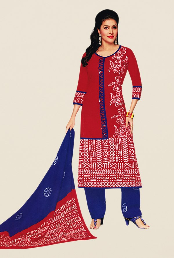 Salwar Studio Red & Blue Batik Dress Material