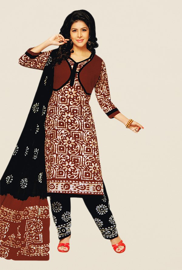 Salwar Studio Brown & Black Batik Dress Material