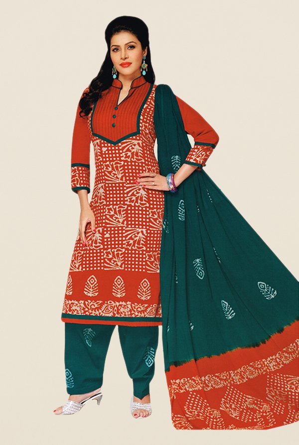 Salwar Studio Red & Green Batik Cotton Dress Material