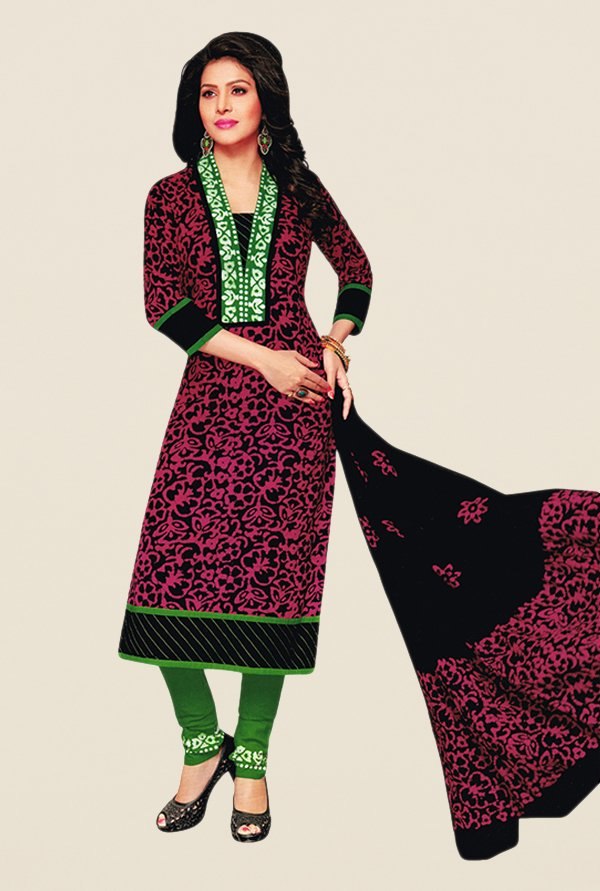 Salwar Studio Pink & Green Batik Dress Material