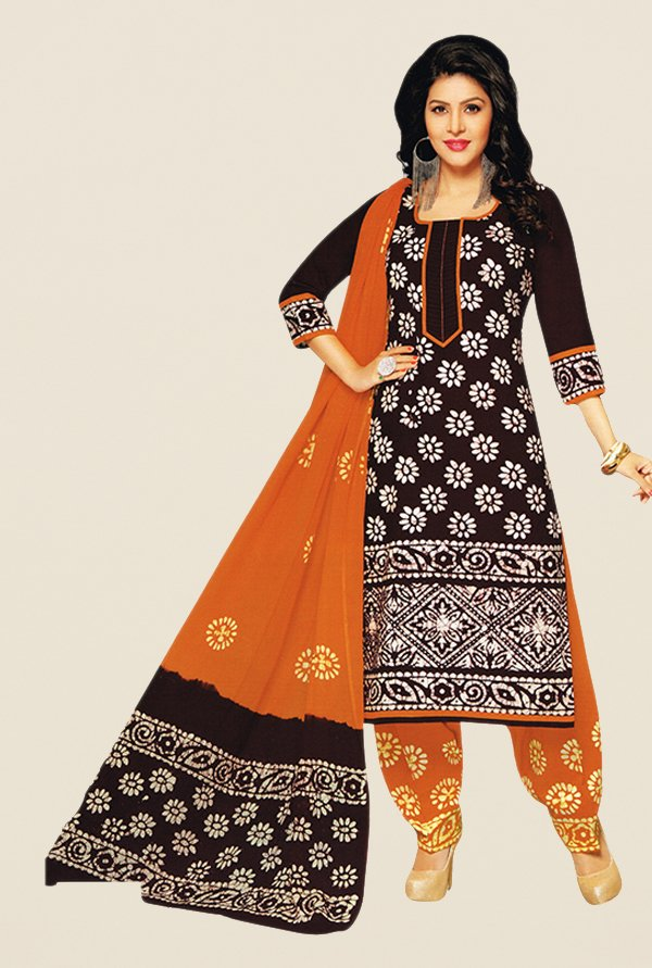 Salwar Studio Black & Mustard Batik Dress Material