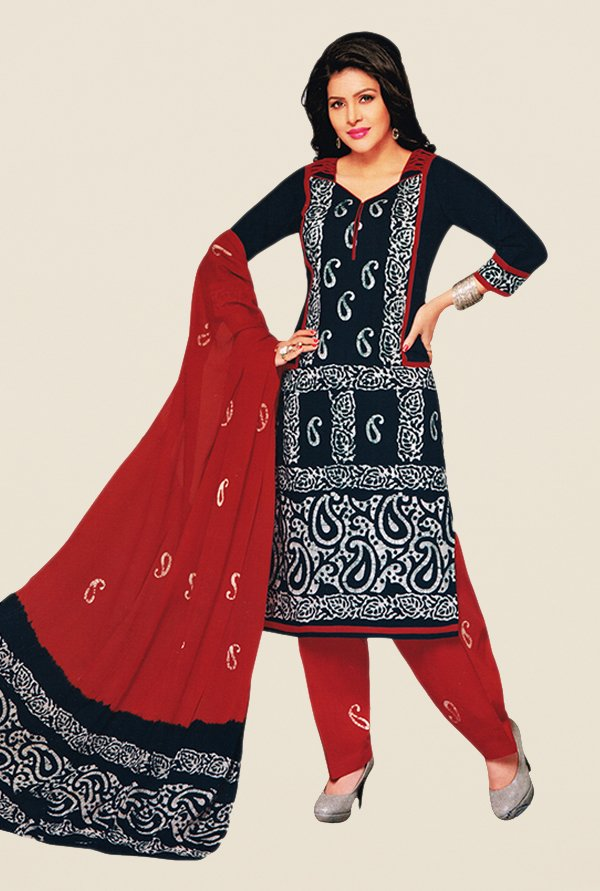 Salwar Studio Navy & Red Paisley Print Dress Material