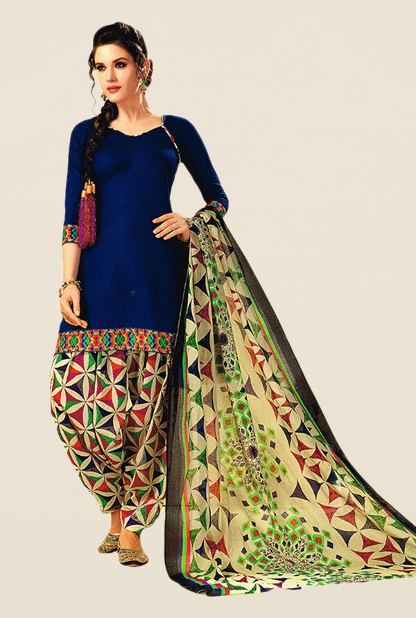 Salwar Studio Blue & Beige Printed Dress Material