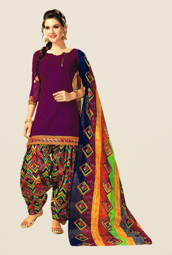 Salwar Studio Magenta & Green Printed Dress Material
